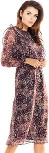 Sukienka Awama z okrągłym dekoltem z szyfonu w stylu casual