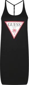 Czarna sukienka Guess prosta w stylu casual z nadrukiem