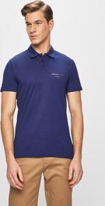 Niebieska koszulka polo Versace Jeans z bawełny z krótkim rękawem