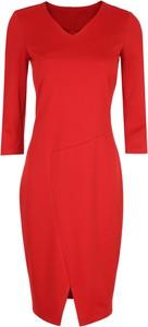Czerwona sukienka Nife z dekoltem w kształcie litery v z dzianiny w stylu casual