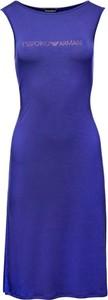 Niebieska sukienka EA7 Emporio Armani bez rękawów midi