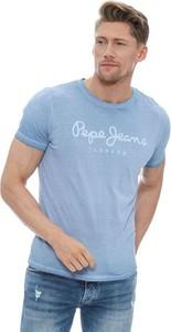 Niebieski t-shirt Pepe Jeans z krótkim rękawem