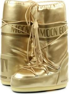 Żółte śniegowce Moon Boot sznurowane