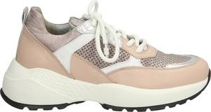 Różowe buty sportowe Venezia sznurowane z płaską podeszwą ze skóry