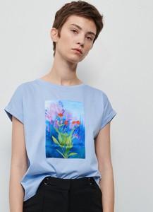 Niebieski t-shirt Reserved z okrągłym dekoltem