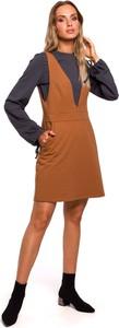 Sukienka MOE z długim rękawem z okrągłym dekoltem z dresówki