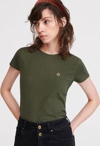 Zielony t-shirt Reserved z okrągłym dekoltem w młodzieżowym stylu