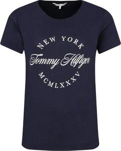 Niebieski t-shirt Tommy Hilfiger w młodzieżowym stylu z okrągłym dekoltem