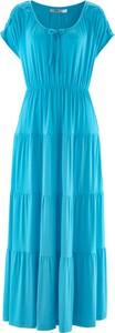 Niebieska sukienka bonprix bpc bonprix collection maxi z krótkim rękawem rozkloszowana