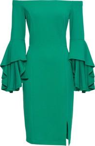 Zielona sukienka bonprix BODYFLIRT boutique ołówkowa hiszpanka midi