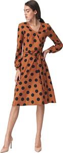 Brązowa sukienka Nife z długim rękawem w stylu casual z dekoltem w kształcie litery v