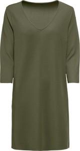 Zielona sukienka bonprix BODYFLIRT z dekoltem w kształcie litery v z długim rękawem w stylu casual