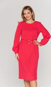 Czerwona sukienka Lavard z długim rękawem midi z okrągłym dekoltem