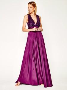 Różowa sukienka Manila Grace rozkloszowana maxi