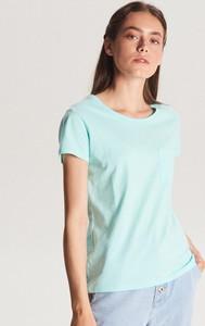 Turkusowy t-shirt Cropp w stylu casual z krótkim rękawem