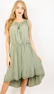 Zielona sukienka Olika asymetryczna