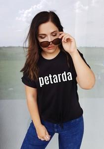 Czarny t-shirt Time For Fashion z bawełny w młodzieżowym stylu z krótkim rękawem
