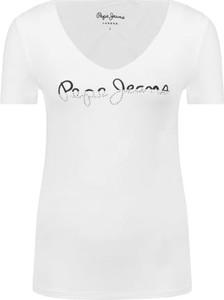 T-shirt Pepe Jeans z dekoltem w kształcie litery v w młodzieżowym stylu