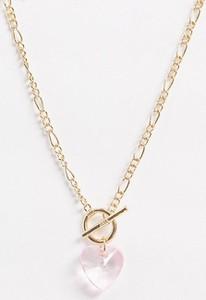 ASOS DESIGN – Naszyjnik w odcieniu złota z kryształowym serduszkiem i ozdobnym pręcikiem-Złoty