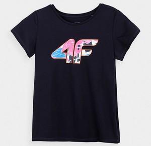 Czarna koszulka dziecięca 4F z bawełny