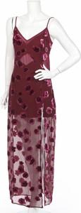 Fioletowa sukienka For Love & Lemons maxi prosta z dekoltem w kształcie litery v