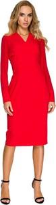Sukienka Style z tkaniny z długim rękawem midi