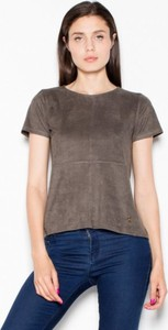 Brązowy t-shirt Venaton z krótkim rękawem z okrągłym dekoltem