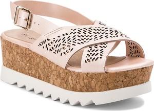 Różowe sandały Sergio Bardi na platformie ze skóry ekologicznej