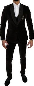 Czarny garnitur Dolce & Gabbana z bawełny