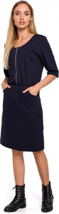 Sukienka MOE z długim rękawem w stylu casual z okrągłym dekoltem
