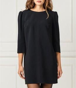Czarna sukienka Elisabetta Franchi z długim rękawem w stylu casual z okrągłym dekoltem
