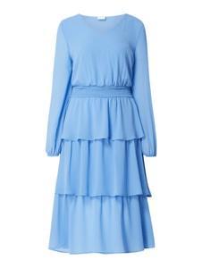 Niebieska sukienka Vila z okrągłym dekoltem z szyfonu