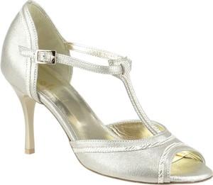 5380488ec26ed0 Złote sandały Elante z otwartym noskiem na średnim obcasie na szpilce