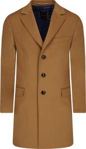 Brązowy płaszcz męski Tommy Tailored z wełny