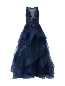 Niebieska sukienka Luxuar rozkloszowana w stylu glamour z dekoltem w kształcie litery v