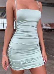 Zielona sukienka Arilook bez rękawów z bawełny z okrągłym dekoltem