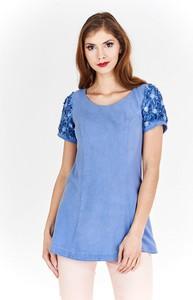 Niebieska bluzka Fokus z okrągłym dekoltem