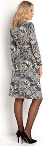 Niebieska sukienka Happy Holly z długim rękawem z dekoltem w kształcie litery v kopertowa