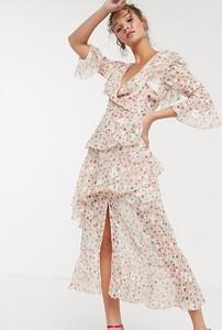 Sukienka Dark Pink z dekoltem w kształcie litery v maxi