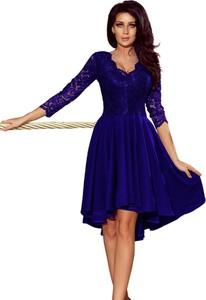 Niebieska sukienka Moda Dla Ciebie z długim rękawem asymetryczna