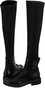 804d809cfdd77 Czarne kozaki Venezia w stylu casual sznurowane za kolano