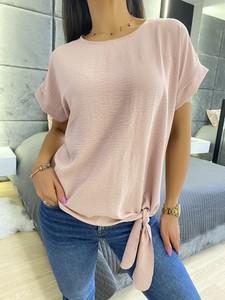 Różowa bluzka ModnaKiecka.pl z okrągłym dekoltem