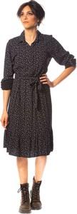 Czarna sukienka Saint Germain Paris z dekoltem w kształcie litery v midi w stylu casual