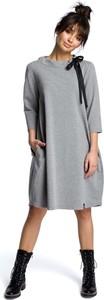 Sukienka MOE z okrągłym dekoltem z długim rękawem midi