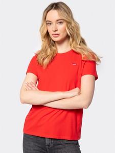 Czerwony t-shirt Levis z okrągłym dekoltem z krótkim rękawem w stylu casual