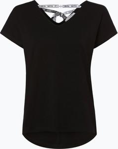 Czarny t-shirt comma, z krótkim rękawem ze sznurowanym dekoltem