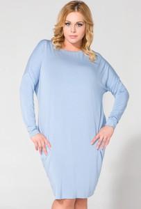 Niebieska sukienka Tessita w stylu casual z długim rękawem z dzianiny