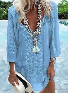 Niebieska sukienka Sandbella z długim rękawem oversize