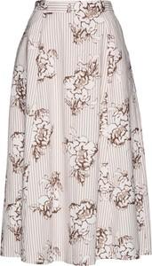 Różowa spódnica bonprix bpc selection z lnu w stylu boho midi