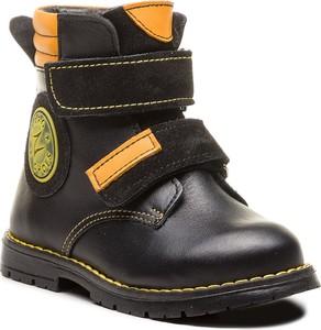 Czarne buty zimowe Zarro na rzepy z zamszu
